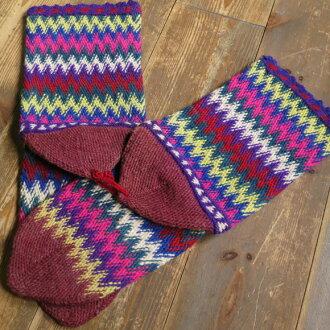 古董·土耳其手工編織羊毛襪子多色·葡萄紅/豐富多彩的彎彎曲曲的邊緣/25cm