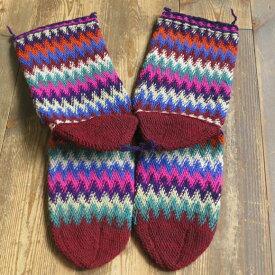アンティーク・トルコ手編みウール靴下マルチカラー・ワインレッド/カラフルなジグザグボーダー/26cm