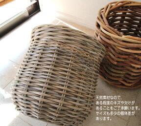 ラタン・バスケット/鉢カバー12号プランターカバーグレーっぽいアンティークテイストの籐かご