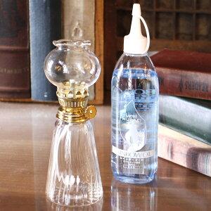 パラフィンオイルランプ・ガラスクリア/花口・【5色から選べる】レインボーオイル300ml付セット