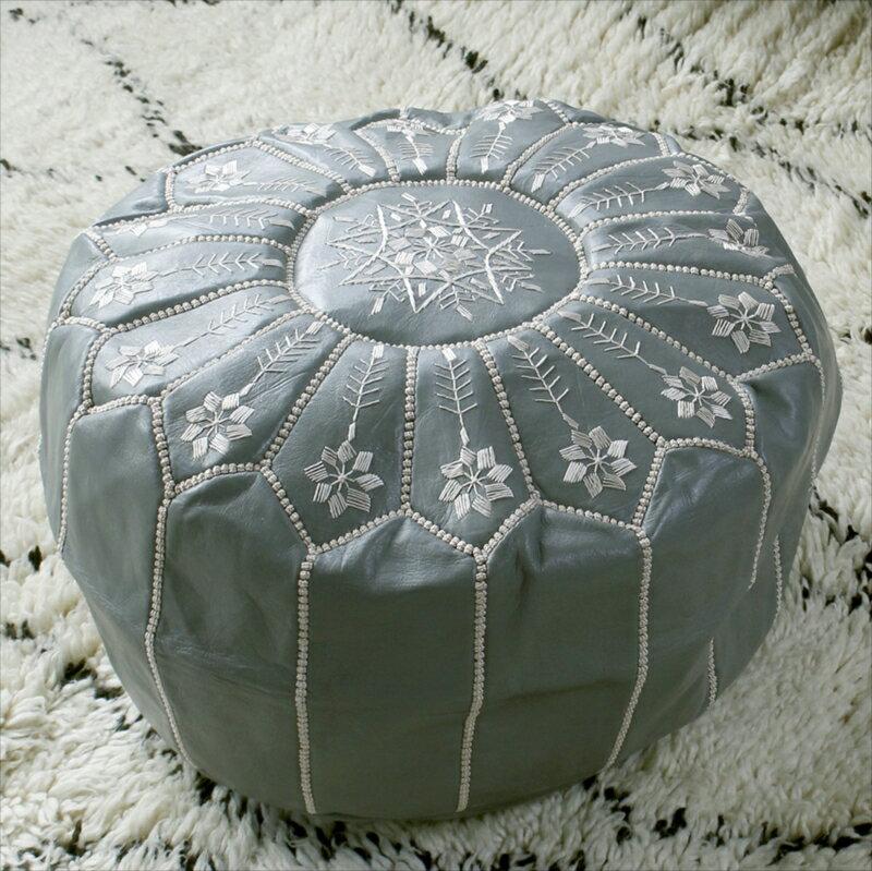 Morocco Leather Ottoman モロッコのオットマン・プフφ51×30cmオリーブ&アイボリー/山羊革・モロッコ製