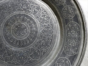 アンティーク・アナトリアの家具銅製のトレイ・丸盆直径60cm/手作り・手彫りTurkishNomadicroundtray,Moroccantraytable,Handmade