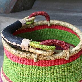 かごバスケット・アフリカ・ガーナ産羊革の可動式持ち手幅36cm・ボルガバスケット・PotBasket・収納かご/手編みかご/ハンドメイド/現品販売