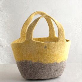 キルギスのフェルトバッグ・Sサイズ Kyrgyzstan Felt Bag Natural dyeing草木染め・ナチュラルカラー・グレー&たまねぎで染めたやさしい淡黄色