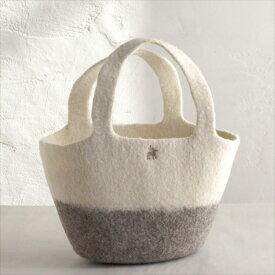キルギスのフェルトバッグ・Sサイズ Kyrgyzstan Felt Bag Natural dyeingナチュラルカラー・ホワイト&グレー