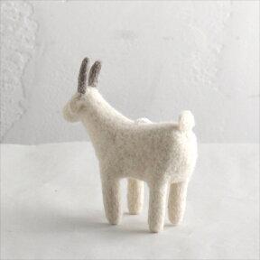 フェルトのぬいぐるみ・ヤギ・Sサイズ/キルギス製KyrgyzstanFeltanimal・Goat/Ssize