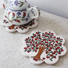 鍋敷き トルコ陶器 タイル ザクロの樹