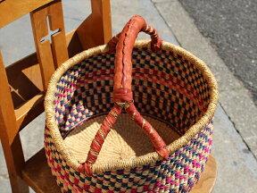 グルスィバスケット/高さ31cm直径33cm/かごバスケット羊革の持ち手付き/収納かご・インテリア/ナチュラル&ネイビー&ピンク