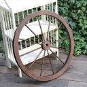 アンティーク風木製ホイール/木製車輪 直径58cm ブラウン ガーデンウィール ガーデニング ウォールデコ