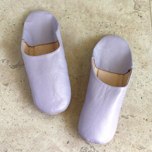 Morocco Babouche シンプルバブーシュ・ライラック/27cm Moroccan Slippers/バブーシュ・レザー・スリッパ/革のスリッパ/羊革/モロッコ製