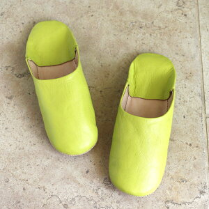 Morocco Babouche シンプルバブーシュ・イエローグリーン/27cm Moroccan Slippers/バブーシュ・レザー・スリッパ/革のスリッパ/羊革/モロッコ製