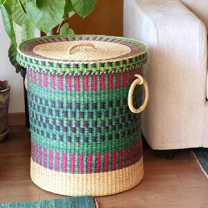 アフリカのランドリーバスケット 収納かご ふた付き/特大サイズ/グリーン・ピンク・ネイビー・ナチュラル/筒型/ボルガバスケット/水草/天然素材使用/現品販売