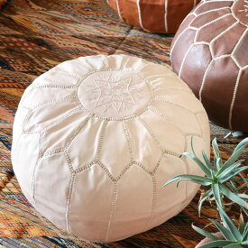 Moroccan POUF light beige モロッコ・プフφ50cm ヤギ革ヌメ・ナチュラル 中材付・オットマンスツール