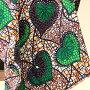 パーニュ・西アフリカのプリント布【88cm単位切り売り】巾116cmブラウン&グリーン