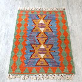 手織りのスタンダードカイセリキリム/チェイレキ124×82cm2つのイーブルアイ ブルー/グリーン