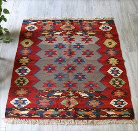 コンヤの草木染キリム Turkish Kilim Natural dye124×98cmマナストゥルデザイン・ソロモンの星