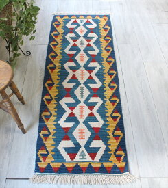 カイセリキリム・手織りトルコキリム ランナー169×55cm雄羊の角 コチボユヌズ