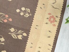 オールドキリム・ブルガリアカリヨラサイズ265×163cmペールトーンに花束ブラウングレー