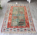 トルコ手織りキリム・ ウシャク セッヂャーデ162×110cm麦の穂とチューリップ・グリーン&レッド