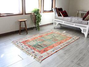 トルコ手織りキリム・ウシャクセッヂャーデ162×110cm麦の穂とチューリップ・グリーン&レッド