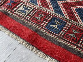 オールドキリム・バルケスィールカリヨラ225×160cm波のジジムレッド&ブルー