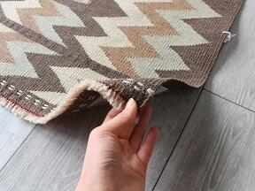 カシュカイ族の手織りキリム/正方形のソフレ146×147cm青のメダリオン・ナチュラルブラウン