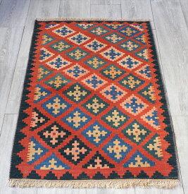 イラン手織りラグ・カシュカイキリム玄関マットサイズ103×67cmヤストゥクサイズ・ダイヤモチーフの伝統柄