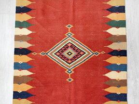 草木染の細かな織り・ハイクオリティのカシュカイキリム160×98cmシンプルなレッド・ドラゴンモチーフ