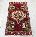 オールドカーペット・ヤストゥク/トルコ絨毯98×51cm深いレッド・花束のメダリオン