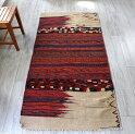 バクティアリ族のキャメルバッグ・オールドキリム194×92cm伝統的なレッド・オレンジ・ネイビー