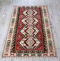 アダナキリム・バフチェジック/トルコ手織りキリムウール100%188×106cm4つのエリベリンデモチーフ