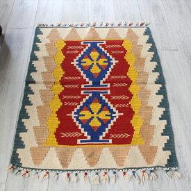 トルコ手織りキリム・カイセリキリム・スタンダードチェイレキ2つのひし形サンドゥック