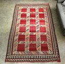 オールドキリム・カシュカイ族 遊牧民の手織りキリム Qashkai tribe Flat weaven kilim257×151cm18の赤いサンドゥック