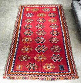 オールドキリム・カシュカイ族 遊牧民の手織りキリム Qashkai tribe Flat weaven kilim247×146cm明るいレッド ベレケットモチーフ