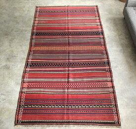 オールドキリム カラート・カリヨラサイズ Kalat kilim Mashhad277×150cm色褪せたレッドのストライプ 動物のモチーフ
