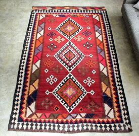 遊牧民の手織りキリム オールドキリム・カシュカイ族 Qashkai tribe Flat weaven kilim245×150cm3つのドラゴン