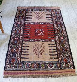 東イランの素朴な手織りキリム・グチャン/セッヂャーデ175×103cmレッド・ライトブラウン