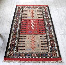 東イランの素朴な手織りキリム・グチャン/セッヂャーデ166×92cmライトブラウン・レッド