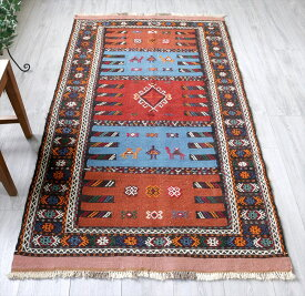 東イランの素朴な手織りキリム・グチャン/セッヂャーデ189×105cmレンガ色&レッド・ブルー