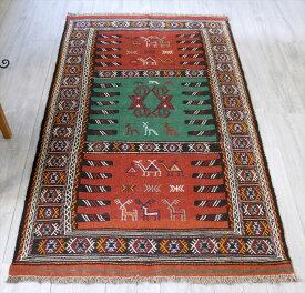 東イランの素朴な手織りキリム・グチャン/セッヂャーデ179×98cmレンガ色・ブルーグリーン