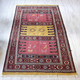 東イランの素朴な手織りキリム・グチャン/セッヂャーデ168×95cmレッド・マスタードイエロー