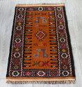 東イラン・素朴なグチャンキリム/ヤストゥクサイズ90×52cmオレンジ・動物モチーフ