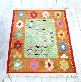 最高級の細かな手織りトルコキリム/コンヤ草木染キリム・スーパーファイン75×53cm麦の穂と花