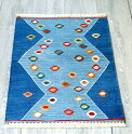 最高級の細かな手織りトルコキリム/コンヤ草木染キリム・スーパーファイン71×50cmイーブルアイ・ブルーのツートーン