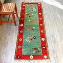 草木染・スーパーファインキリム 最高級の細かな手織りトルコキリム196×66cm花と麦の穂 グリーン/レッド
