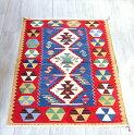 最高級の細かな手織りトルコキリム/コンヤ草木染キリム・スーパーファイン95×65cmブルー&レッド・3つのひし形