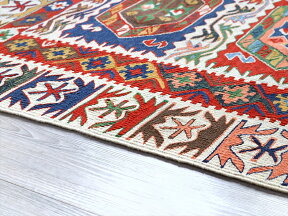 トルコ手織りキリム・コンヤ草木染セッヂャーデ172×139cmチュムラソロモンの星のある六角形