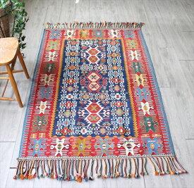 草木染の手織りキリム・トルココンヤ産/セッヂャーデ176×115cm細かなモチーフ使い