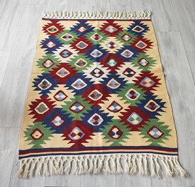 ウシャクキリム・トルコ産手織りキリム/良質ウールを使ったやわらかな織り119×90cmアンタルヤ地方のギョズモチーフ
