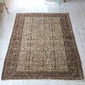 トルコ絨毯・カイセリ産手織りじゅうたん・エリアラグ221×152cm染めていないモノトーンカラー細かな花のアラベスク